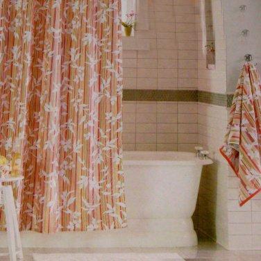 Threshold VINE SILHOUETTE Stripe Red Green Fabric Shower Curtain Target