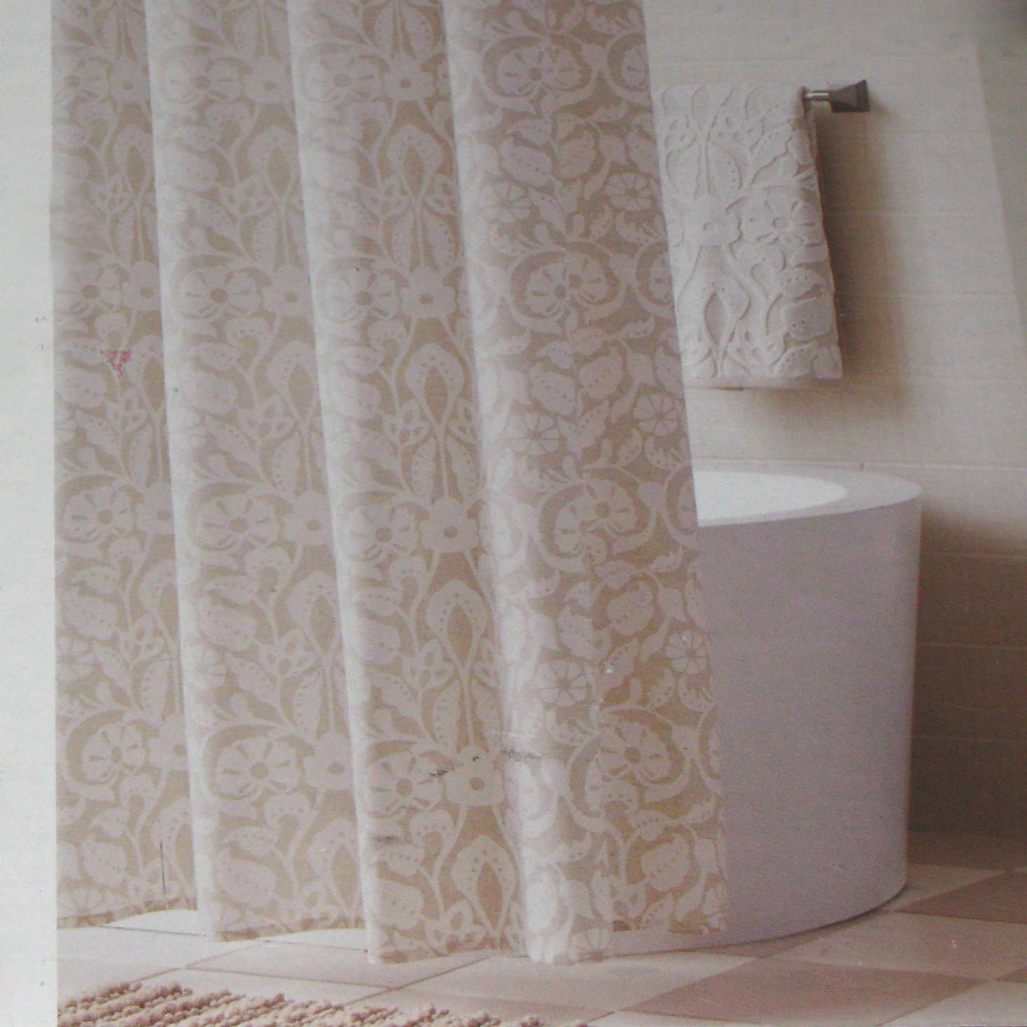 Threshold Soft Floral Tan Shell Beige Fabric Shower Curtain Target