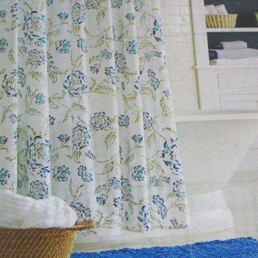 Threshold FLORAL MOTIF Blue Green Fabric Shower Curtain Target