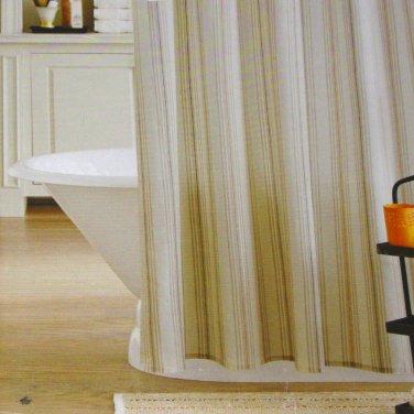 Threshold RIVER BIRCH CORAL STRIPE Orange Beige Fabric Shower Curtain Target