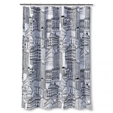 Room Essentials CITY SKETCH Black White Fabric Shower Curtain Target