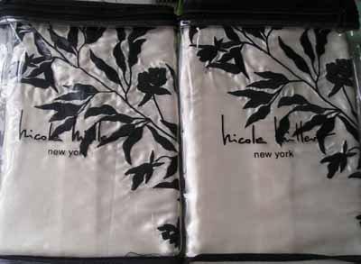Nicole Miller Modern Romance Standard Pillow Shams Ivory Satin Embroidery New
