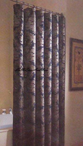 Croscill Empire Blue Fabric Shower Curtain New