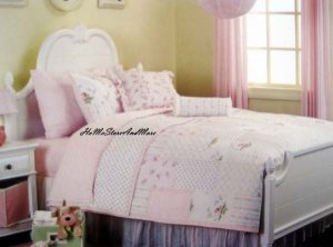 Shabby Pink Roses Patchwork Twin Quilt Sheet Set 6pc New