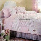 Shabby Pink Roses Patchwork Twin Quilt and Standard Pillow Sham Set 2 pc New