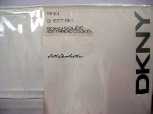 DKNY SOHO Solids White King Sheet Set 400TC Flat Fitted Pillowcases New