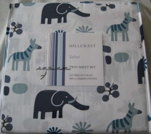 Hillcrest Safari Wild Animals Twin Sheet Set Cotton 310 thread count New