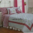 Girls Pink Polka Dots Daisy Twin Quilt Standard Pillow Sheet Sham Set 5 pc New