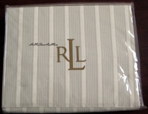 Ralph Lauren Winter Garden Jacquard Stripe King Flat Sheet Pillowcases New