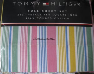 Tommy Hilfiger Daly City Stripes Full Sheet Set 4pc New