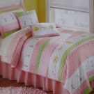 Kids Expressions Girls Tara Stripe Twin Quilt Sham Sheet Set 5pc New