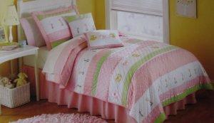 Kids Expressions Girls Tara Stripe Twin Quilt Sham Sheet Set 5pc New