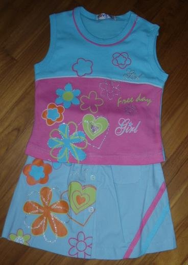 153 Sweet Colorful Flower Print 2 pc set  ( Blue Size 6mths and 12 mths)