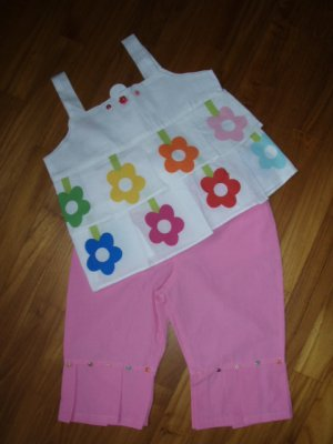 156  Fower with Beads 2 Piece Set  - Pink  ( Size 3T )