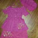 215 Beatiful Elegant  Sweet 2 piece Set with Hat - Pink  ( Suitable for 1yrs old)