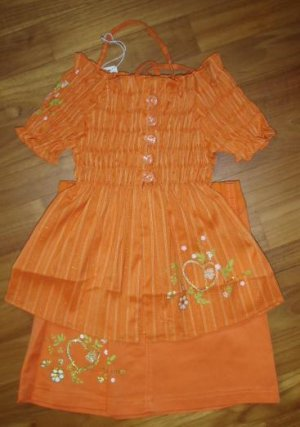 215 Beatiful Elegant  Sweet 2 piece Set with Hat - Orange  ( Suitable for 2yrs old)