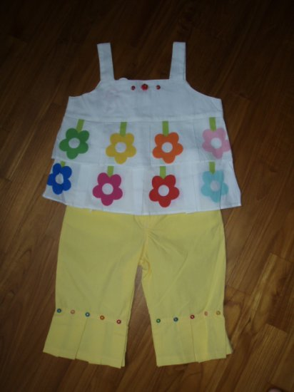 156  Fower with Beads 2 Piece Set  - Yellow ( Size 3T )