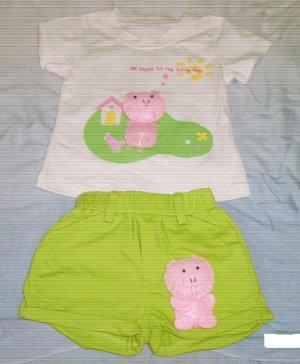 Pig Cute 2 Piece Set - Green ( Size 3)