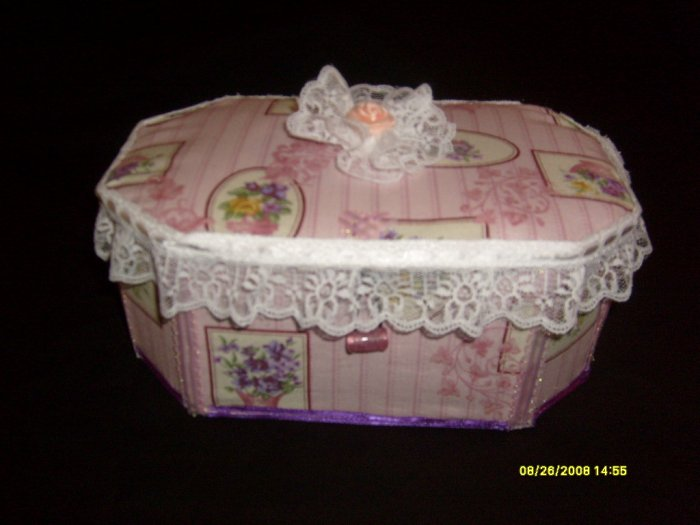 "Pretty as a Princess Handmade Fabric Keepsake Box 6"" tall / 10.5"" wide"