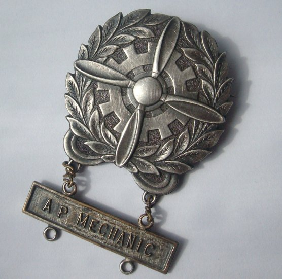WWII Army Air Corps. Sterling AP Mechanic Lapel Pin