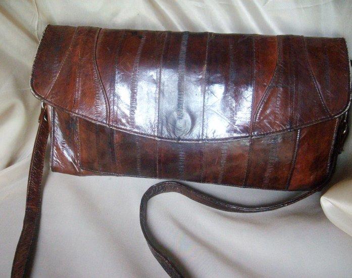 beautiful dark brown genuine eel skin handbag / clutch purse