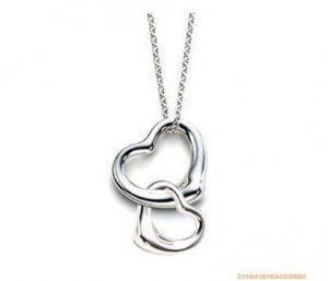 Stunning double heart design necklace 925 sterling silver 18""