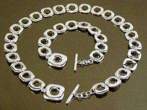 925 Sterling Silver consecution Grid Bracelet&Necklace