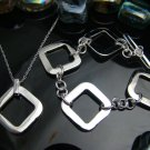 925 Sterling Silver Big Pane Necklace&Bracelet