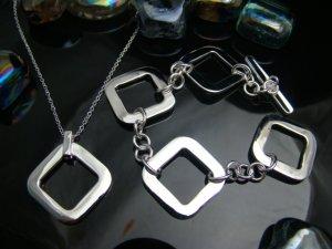 925 Sterling Silver Big Pane Necklace&Bracelet