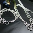 925 Sterling Silver Multi line with beads  Necklace&Bracelet DSCO6672