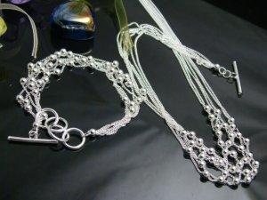 925 Sterling Silver Multi line with beads  Necklace&Bracelet DSCO6672