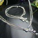 925 Sterling Silver 5 stars  Necklace&Bracelet DSCO6695