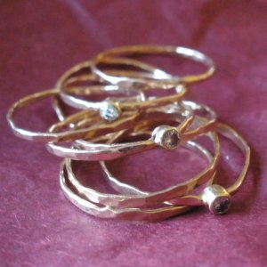 rose gold and diamond stacking rings