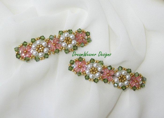 Swarovski Crystal & Pearl ~ Pink Flower Hair Barrette Set of 2 Barrettes