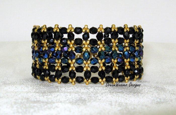 Elegant Jet Black, Blue and Gold Jablonex Czech Bracelet