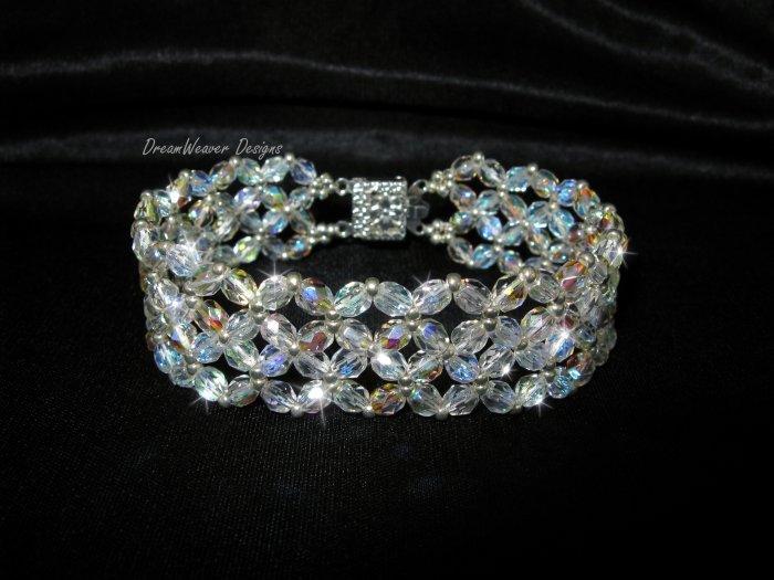 Czech Aurora Borealis AB Crystal Lace and Silver Bracelet