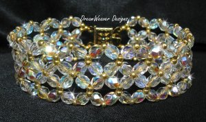Czech Aurora Borealis AB Crystal Lace and Gold Bracelet