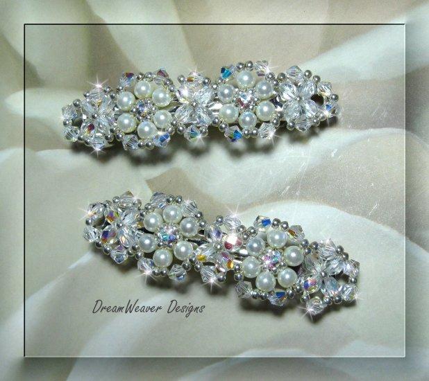 Swarovski Aurora Borealis Crystal & Antique White Pearl Bridal Barrette Set of 2 Barrettes