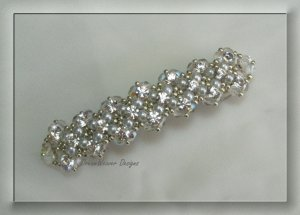 Vintage French Crystal, Silver & White Pearl Bridal Barrette ~ Mi Amore