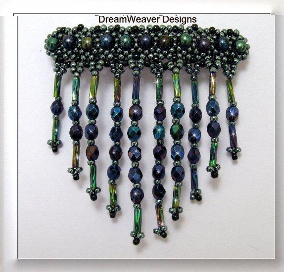 Blue, Purple & Green Iris Czech Crystal Fringe Barrette