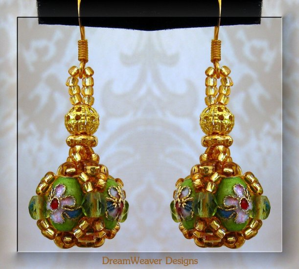 Peridot Green Crystal and Gold Cloisonne Marchesa Earrings
