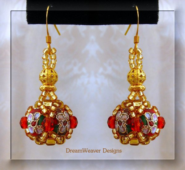 Ruby Red Crystal and Gold Cloisonne Marchesa Earrings