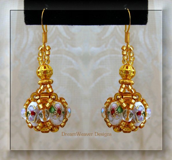 White, AB Crystal and Gold Cloisonne Marchesa Earrings