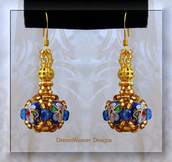 Sapphire Blue Crystal and Gold Cloisonne Marchesa Earrings