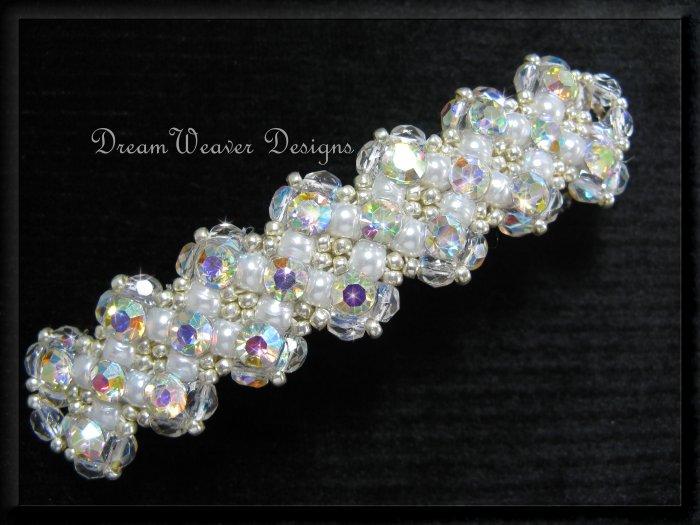 Vintage Swarovski Aurora Borealis AB Crystal & White Pearl Bridal Barrette ~ Wedding Bliss