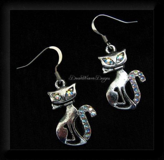 Vintage Swarovski AB Crystal & Silver Cat Earrings