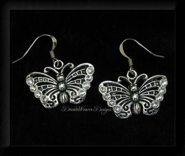 Vintage Swarovski Crystal and Silver Butterfly Earrings