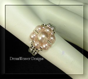 Silver Bead and Soft Pink Pearls Flower Cluster Ring