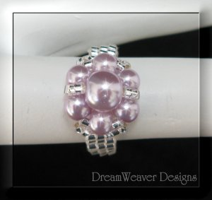 Silver Bead and Lavender Purple Pearls Flower Cluster Ring