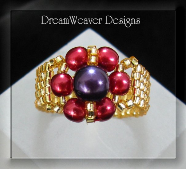 Red, Purple and Gold Czech Glass Ring - Red Hat Society